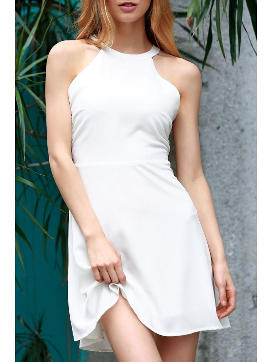 Blanc Backless évider col rond Robe sans manches - Blanc L