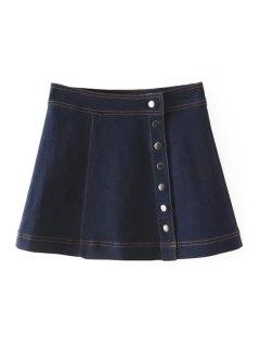 Denim Solid Color Button Embellished Skirt - Deep Blue L