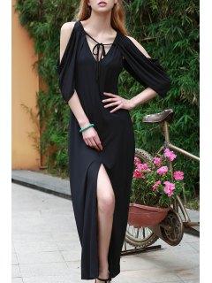 Draped Sleeve Cold Shoulder Maxi Prom Dress - Black 2xl