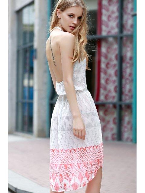 fancy Sleeveless Geometric Print Chiffon Dress - WHITE L Mobile