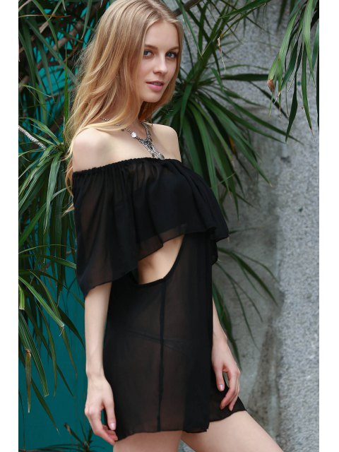 women See-Through Off the Shoulder Chiffon Dress - BLACK S Mobile