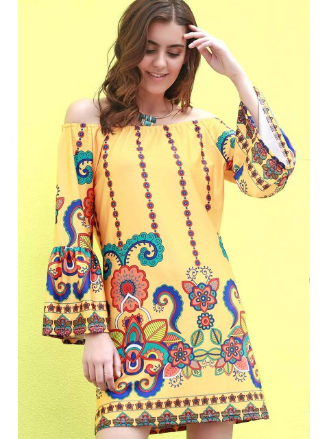online Floral Print Round Neck Flare Sleeve Dress - YELLOW 2XL Mobile