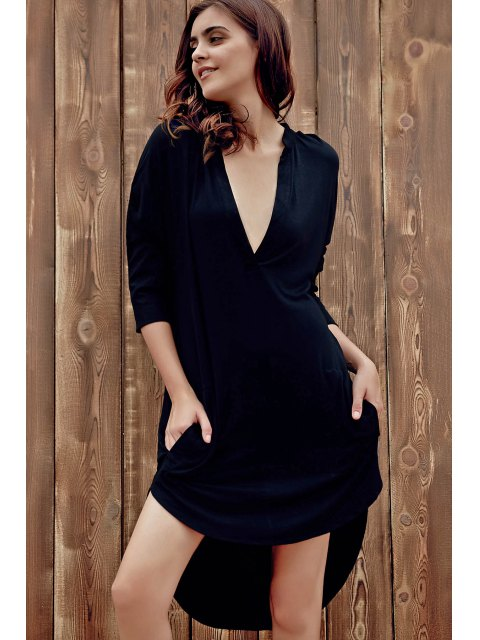 chic High Low Shirt Dress - BLACK XL Mobile
