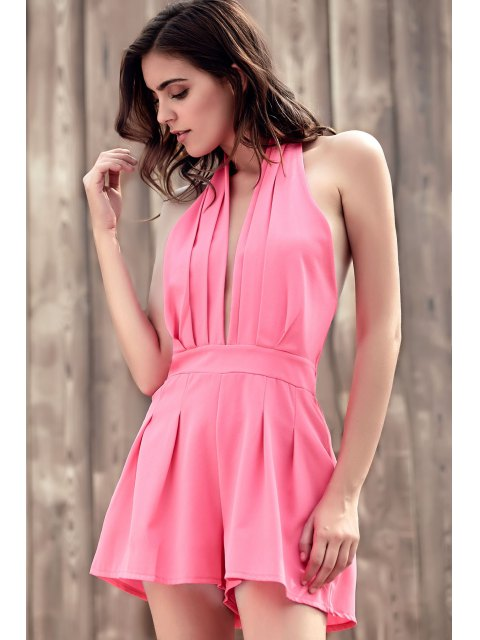 ladies Wide Leg Plunging Neck Sleeveless Romper - PINK M Mobile