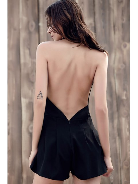 womens Wide Leg Plunging Neck Sleeveless Romper - BLACK M Mobile