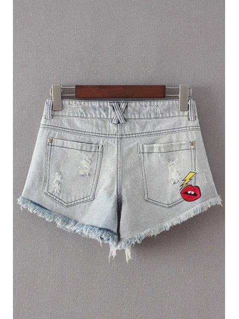 latest Broken Hole Embroidery Denim Shorts - LIGHT BLUE L Mobile