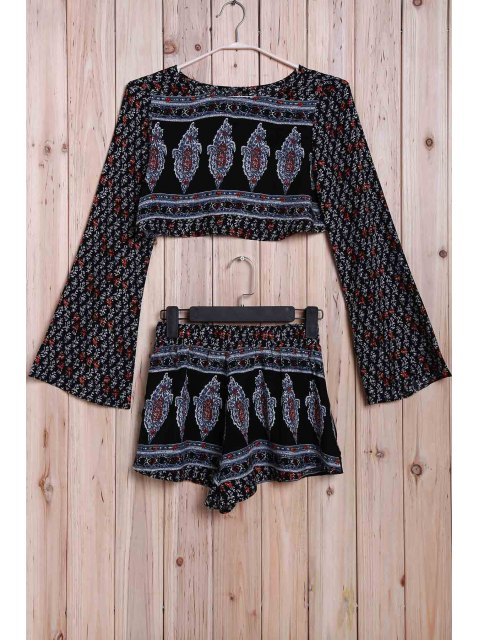 unique Printed Long Sleeve Crop Top + Shorts Twinset - COLORMIX XL Mobile