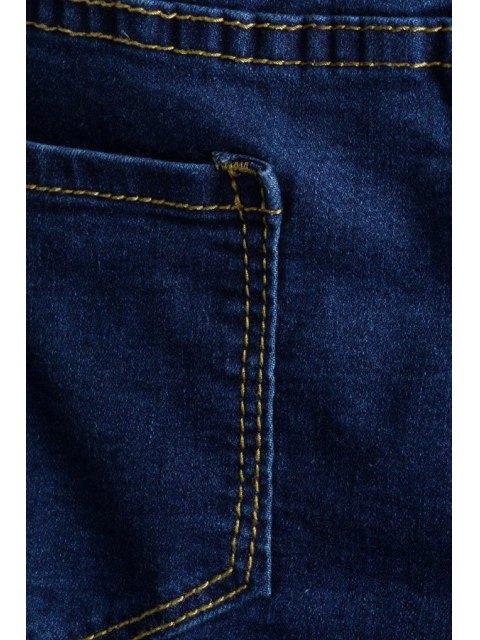 women Tassels Spliced Ripped Boot Cut Jeans - DEEP BLUE S Mobile