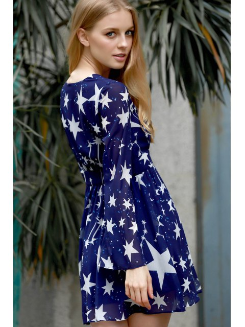 womens Pentagram Print V-Neck Long Sleeve Dress - BLUE 3XL Mobile