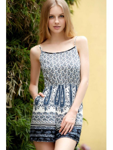 best Backless Spaghetti Straps Printed Romper - COLORMIX L Mobile