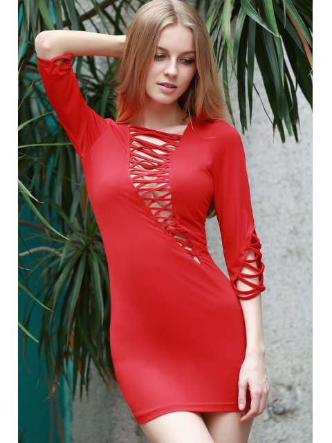 shops Lace-Up Bias Cut Bodycon Dress - RED M Mobile