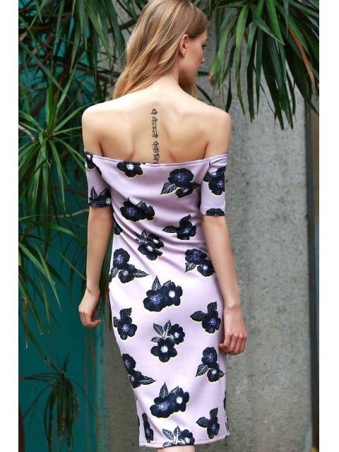 women's Off-The-Shoulder Floral Bodycon Dress - PURPLE XL Mobile