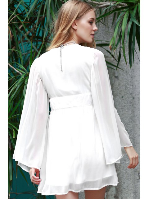 hot Deep V Neck Flare Sleeve Chiffon Dress - WHITE 2XL Mobile