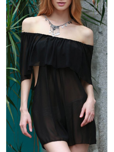 best See-Through Off the Shoulder Chiffon Dress - BLACK 2XL Mobile