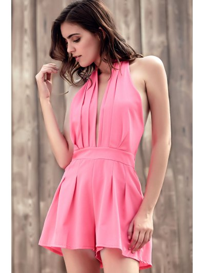 Wide Leg Plunging Neck Sleeveless Romper - PINK M Mobile