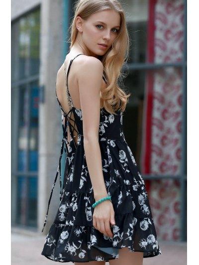 Floral Print Tiered Chiffon Dress - BLACK M Mobile