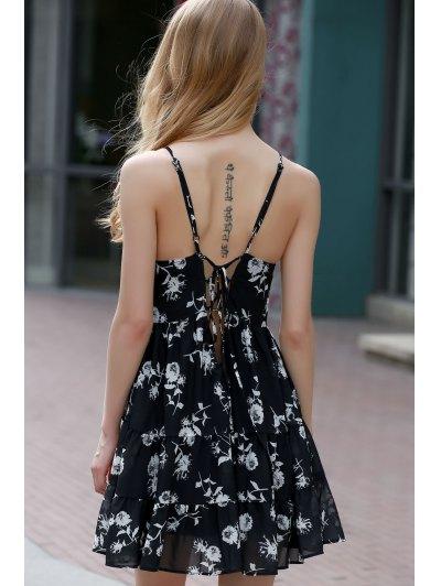 Floral Print Tiered Chiffon Dress - BLACK 3XL Mobile