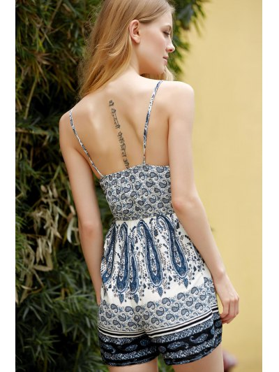 Backless Spaghetti Straps Printed Romper - COLORMIX L Mobile
