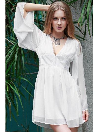 Deep V Neck Flare Sleeve Chiffon Dress - WHITE M Mobile