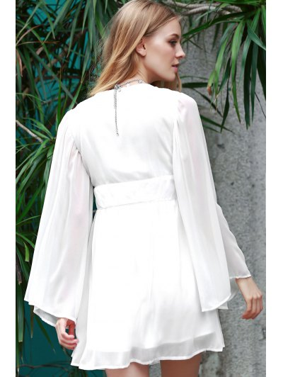 Deep V Neck Flare Sleeve Chiffon Dress - WHITE L Mobile