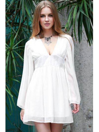 Deep V Neck Flare Sleeve Chiffon Dress - WHITE XL Mobile