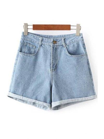 Rolled High Rise Denim Shorts - Light Blue M