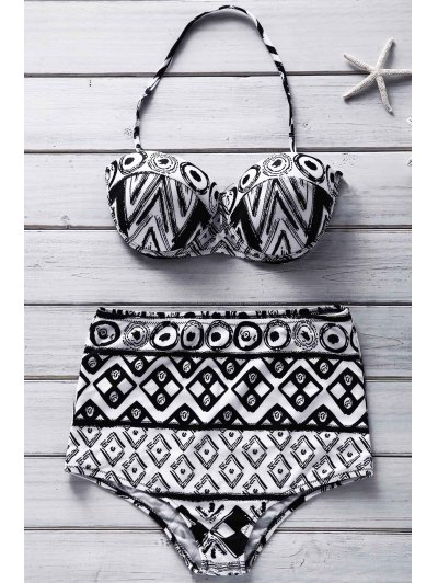 Geometric Print Strapless Bikini Set