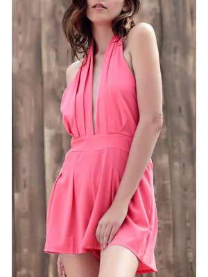 Wide Leg Plunging Neck Sleeveless Romper - Pink