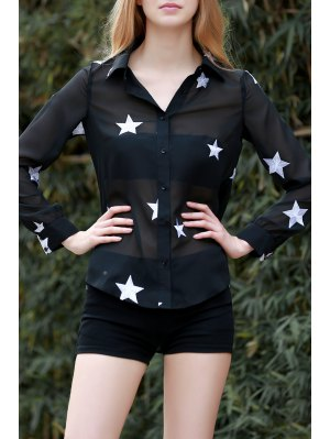 Star Print See-Through Chiffon Shirt - Black