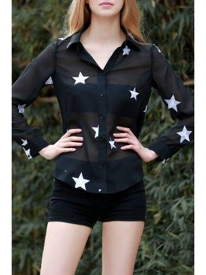 Star Print See-Through Chiffon Shirt - Black