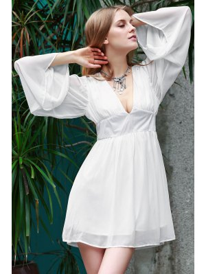Deep V Neck Flare Sleeve Chiffon Dress - White