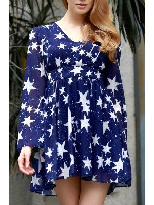 Pentagram Print V-Neck Long Sleeve Dress - Blue