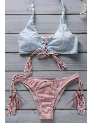 Hit Color Flower Print Halter Fringe Bikini - Pink