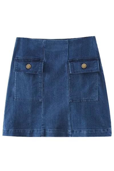 Two Pockets Side Zipper Denim Mini Skirt