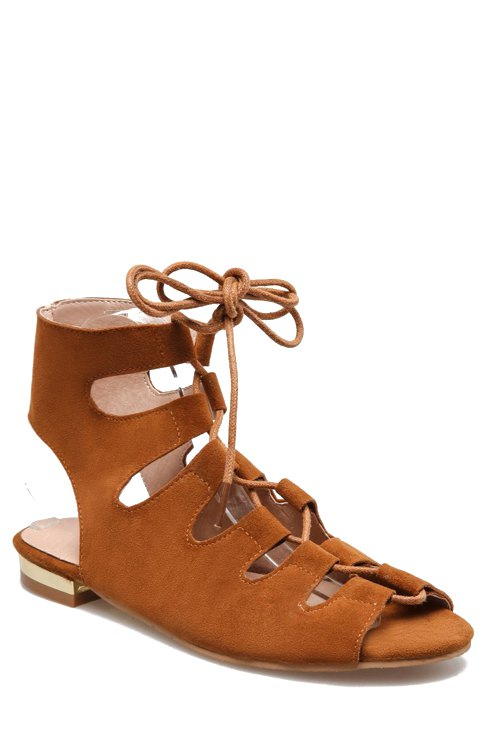 Buy Lace-Up Peep Toe Flat Heel Sandals BROWN 35