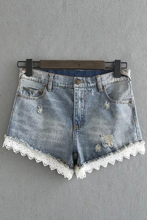 Lace Trim Denim Shorts 176151912