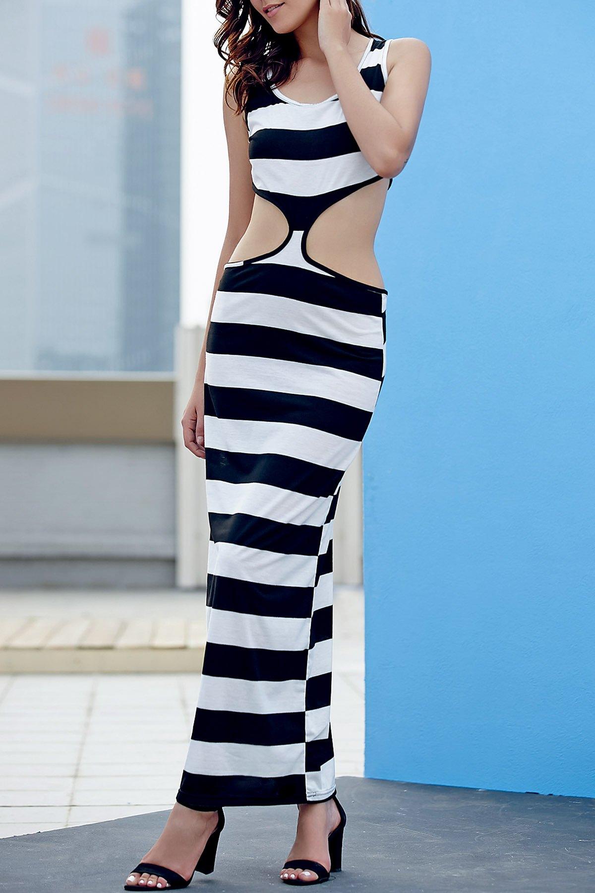 U Neck Sleeveless Striped Maxi Dress