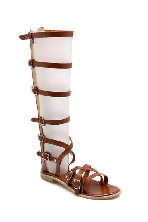 Buckles High Top Flat Heel SandalsShoes<br><br><br>Size: 39<br>Color: BROWN