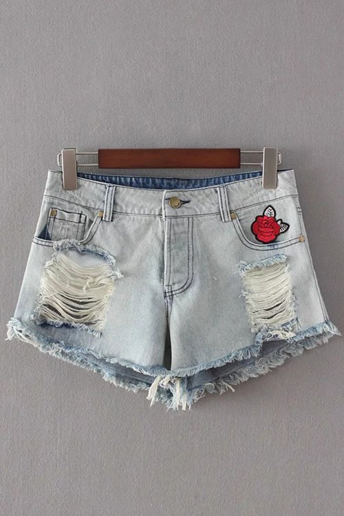 Broken Hole Embroidery Denim Shorts