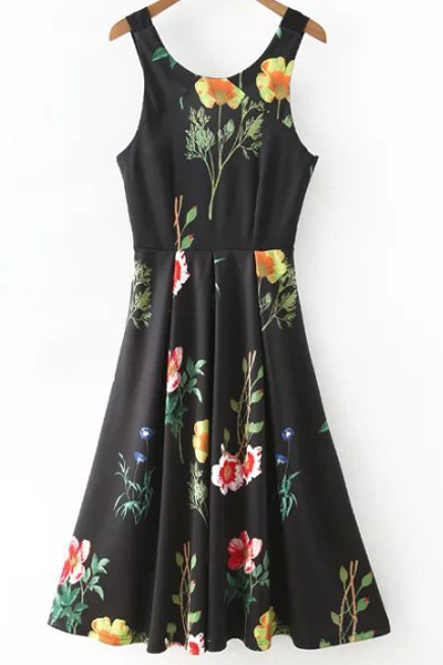 Scoop Neck Floral Print Waisted Dress