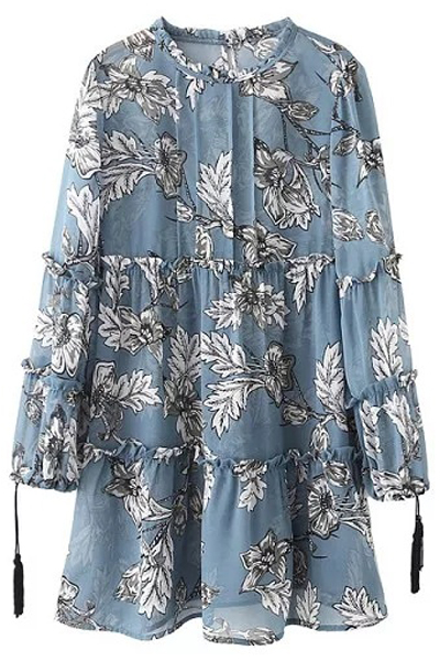 Printed Round Collar Long Sleeve Loose DressClothes<br><br><br>Size: M<br>Color: ICE BLUE