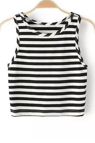 Round Collar Striped Cropped Tank Top