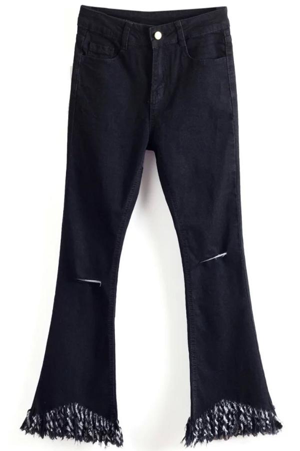 Ripped Tassels Spliced Boot Cut Jeans