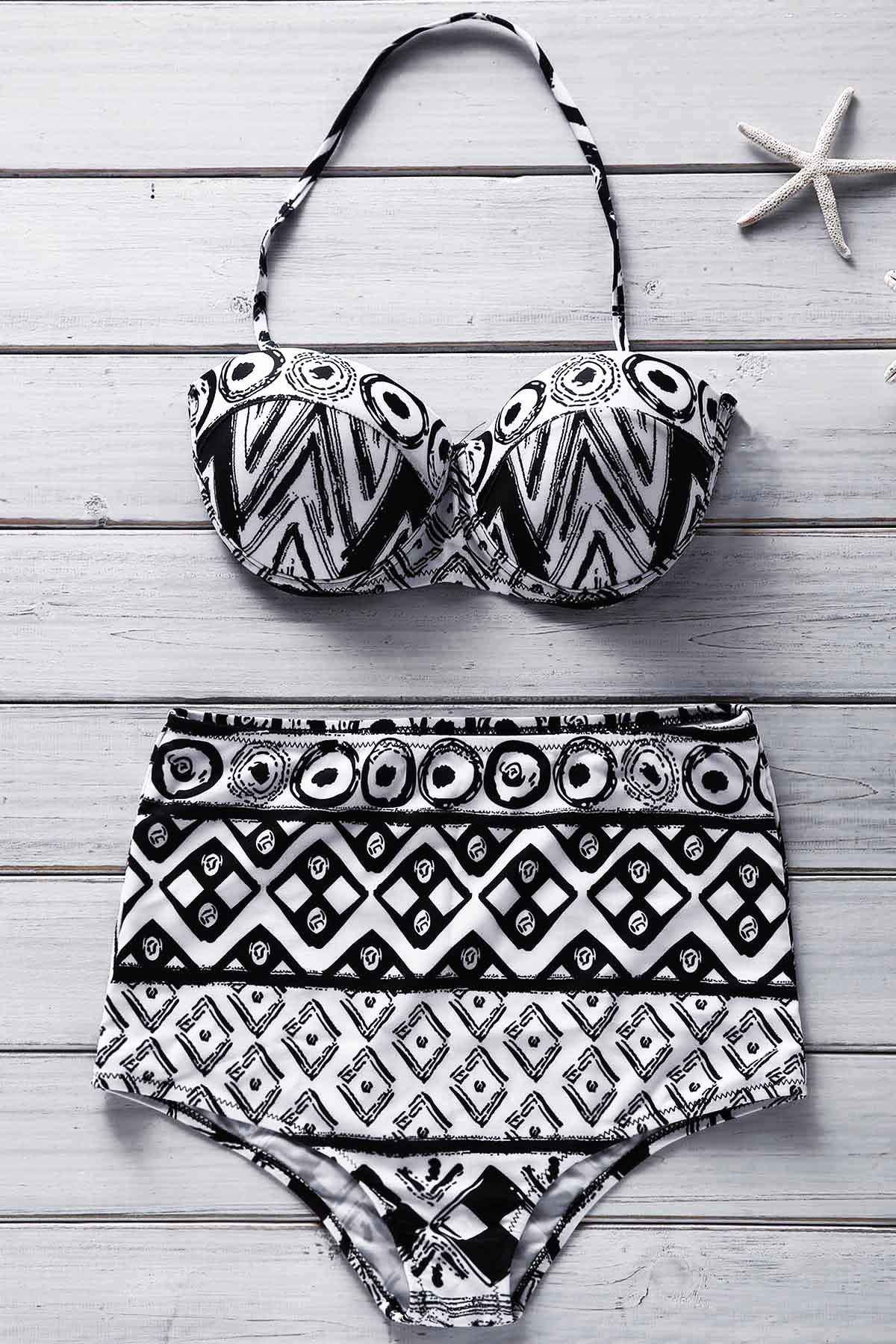 Strapless Geometric Print Bikini Set