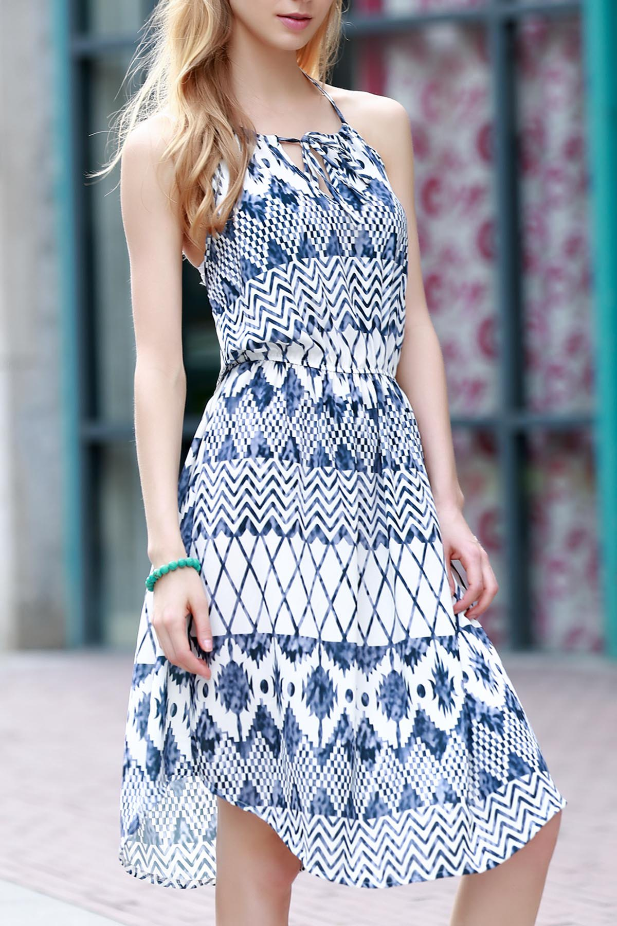 Sleeveless Geometric Print Chiffon Dress