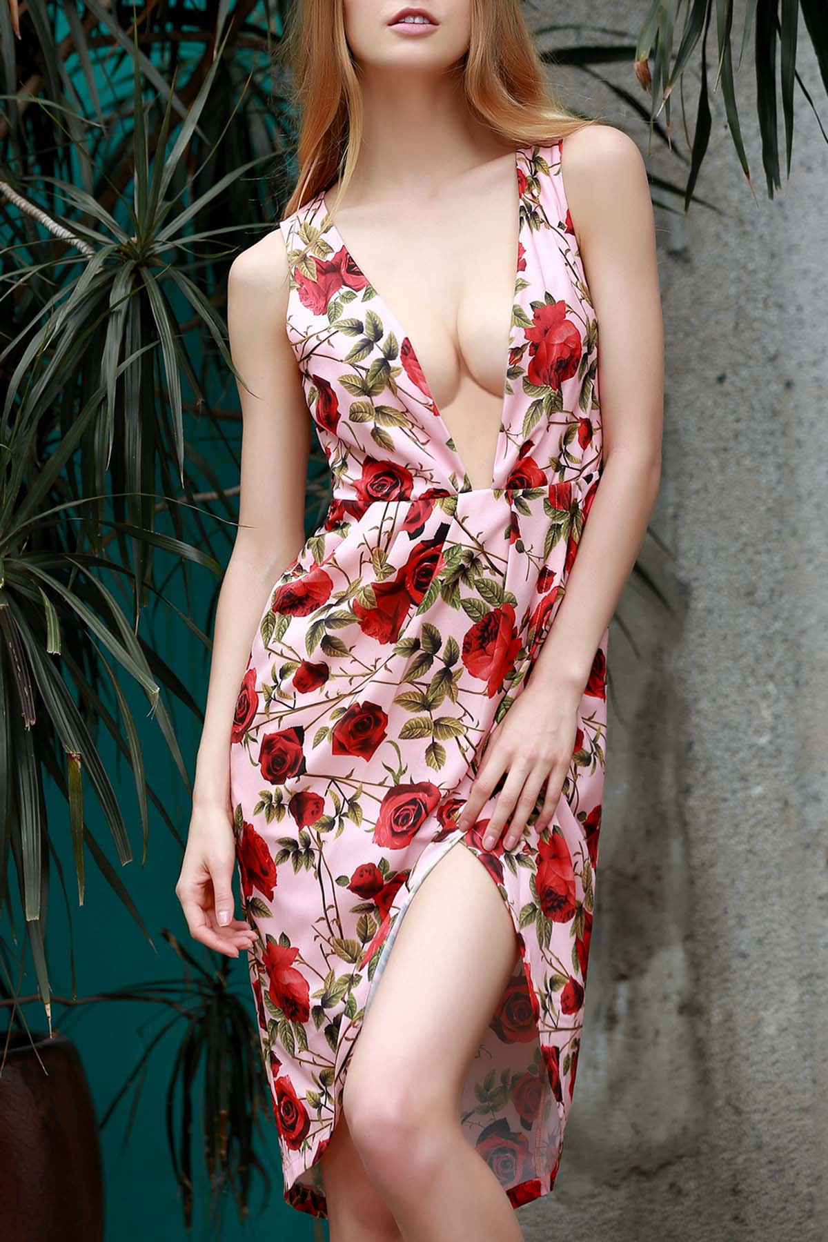 Plunging Neck Sleeveless Zippered Floral Print Dress
