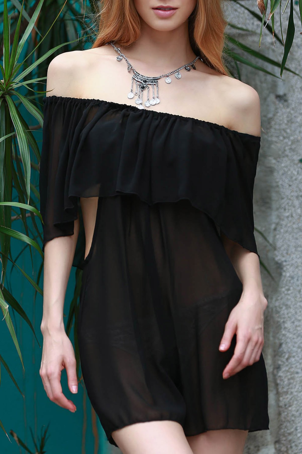See-Through Black Chiffon DressClothes<br><br><br>Size: M<br>Color: BLACK