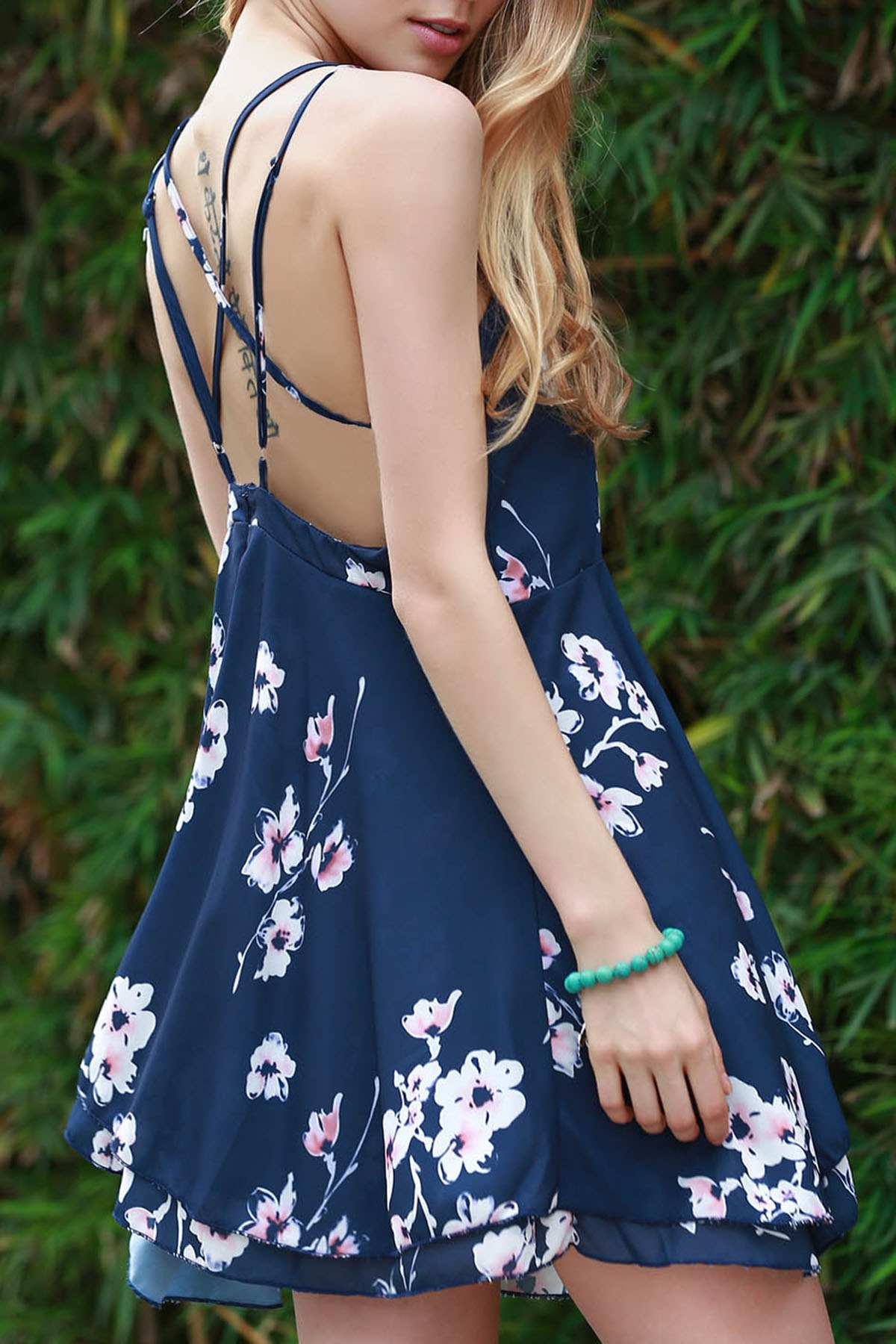 Backless Floral Print Swing Dress