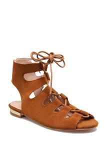 Lace-Up Peep Toe Flat Heel Sandals - Brown 39