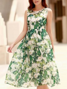 Elegant Jewel Neck Sleeveless Floral Printed Pleated Dress For Women